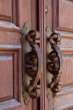 Freedom Tower entry door handles close up